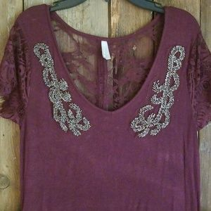 Beaded lace and buttons top